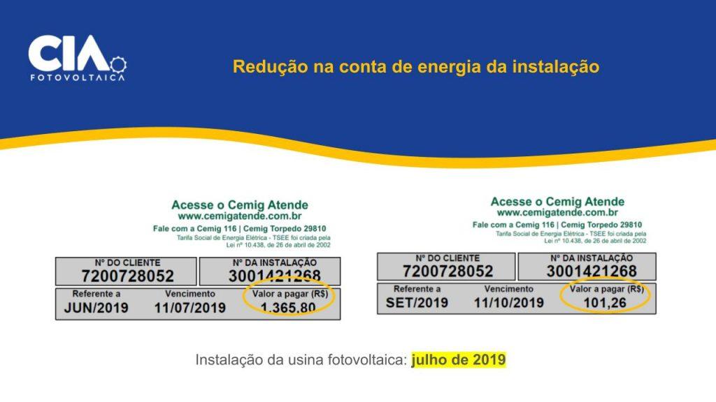 Imagem de comparação de  contas de energia elétrica que mostram redução do valor